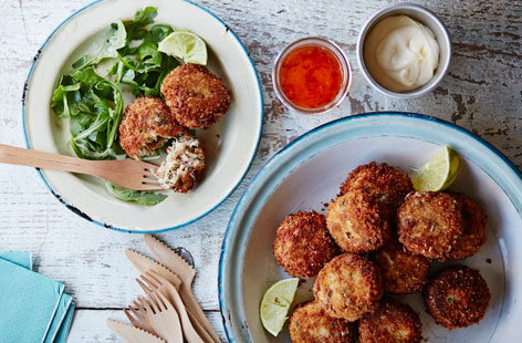 These gluten-free crab cakes are packed full of flavour and are so easy to make, the whole family will love them