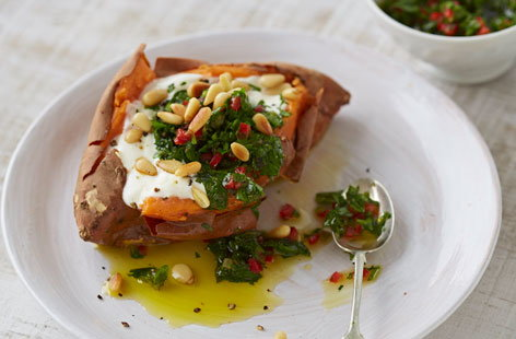 Baked sweet potato with chimichurri