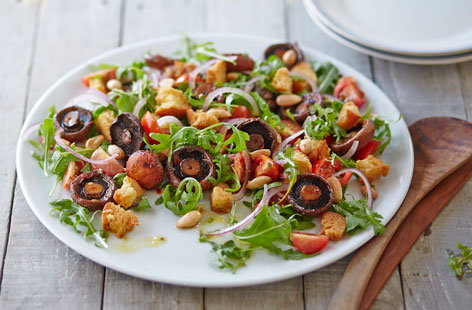 Spruce up your boring salads with some Harissa-marinated forestiére mushrooms, or other wild mushrooms of your choice