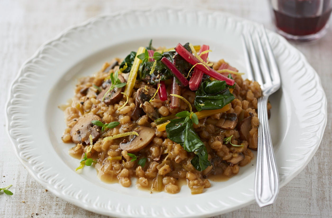 Porcini barley risotto with lemon chard recipe