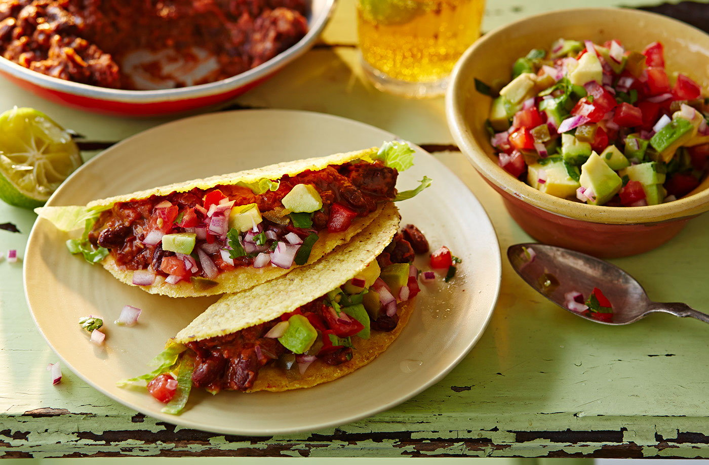 Red refried bean tacos