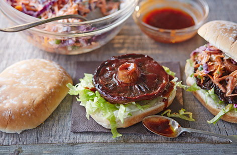 This vegan alternative replaces meat with a large, flat mushroom, marinated in a smoky barbecue sauce