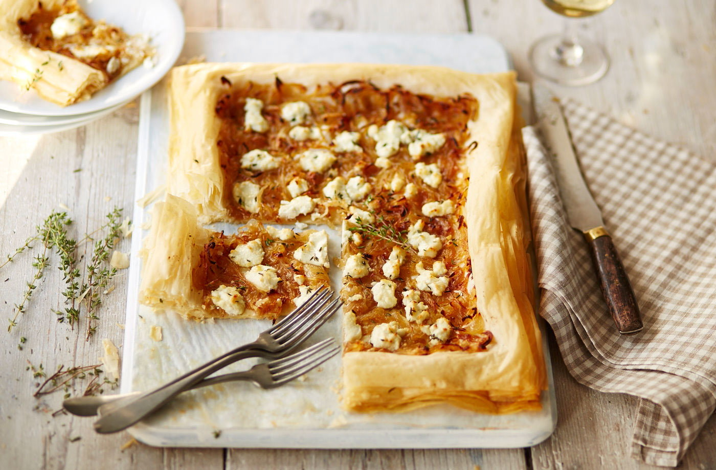 Caramelised onion and goat's cheese filo tart recipe