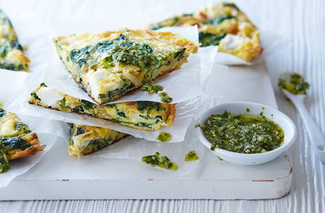 303 vegetarian spinach pesto goats cheese frittata (H)