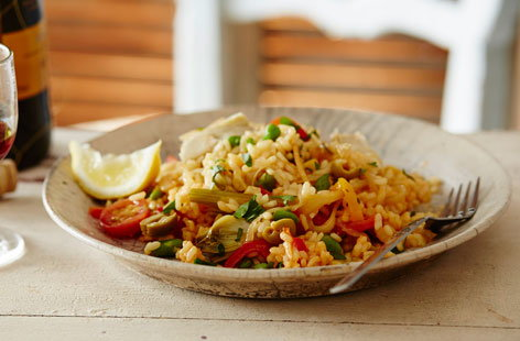 This paella is full of fresh flavours, colours and textures working together to make a light but memorable dinner