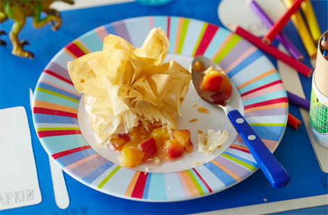 Nectarine and white chocolate money bags
