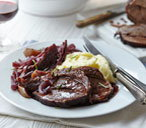 Red wine braised brisket and red cabbage one-pot