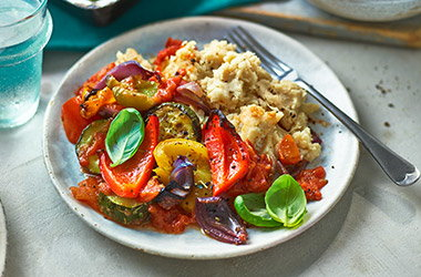 Baked ratatouille with butter bean mash