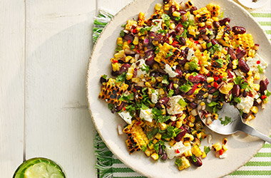 Charred chilli corn and smoky bean salad