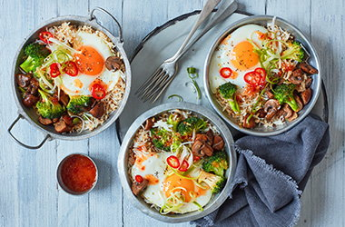 Sweet chilli vegetable rice bowl