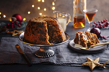 Pear, ginger and sherry Christmas pudding