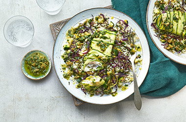 Courgette and fish pilaf
