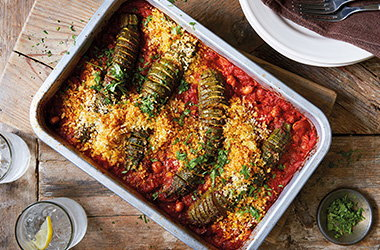 Hasselback courgette bake