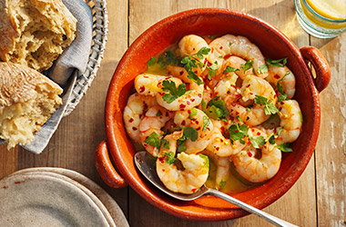 Garlic and lemon prawns