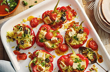Halloumi stuffed peppers