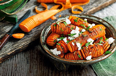Cumin and fennel hasselback carrots