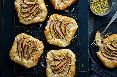 Pear and cinnamon custard Danish pastries