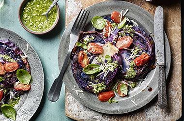 Red cabbage 'steaks' with pesto