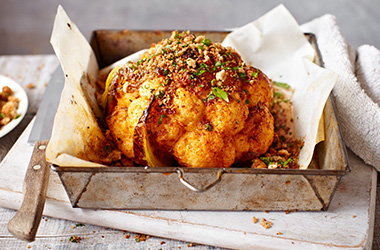 Whole roasted cauliflower with garlic and paprika