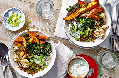 Roasted veg and lentil salad bowl