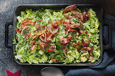 Shredded sprouts with bacon and chilli butter