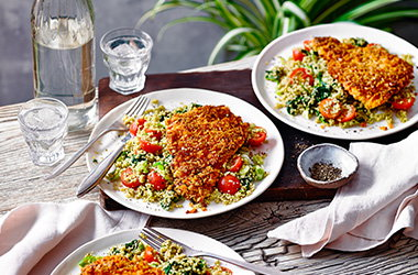 Spiced chicken escalope with couscous salad