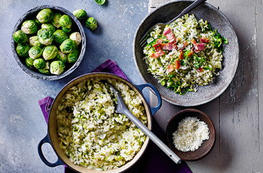 Creamy Brussels sprouts and bacon risotto