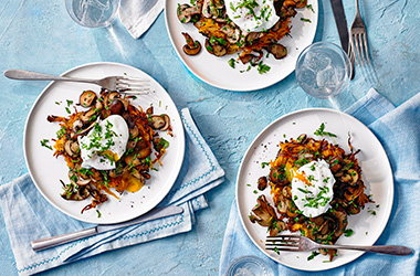 Sweet potato rosti with mushrooms and poached egg