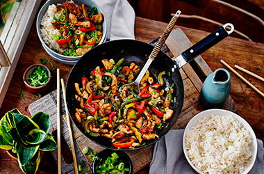 Turkey and peppers stir-fry