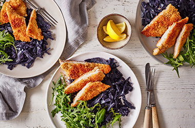 Couscous chicken schnitzel with red cabbage