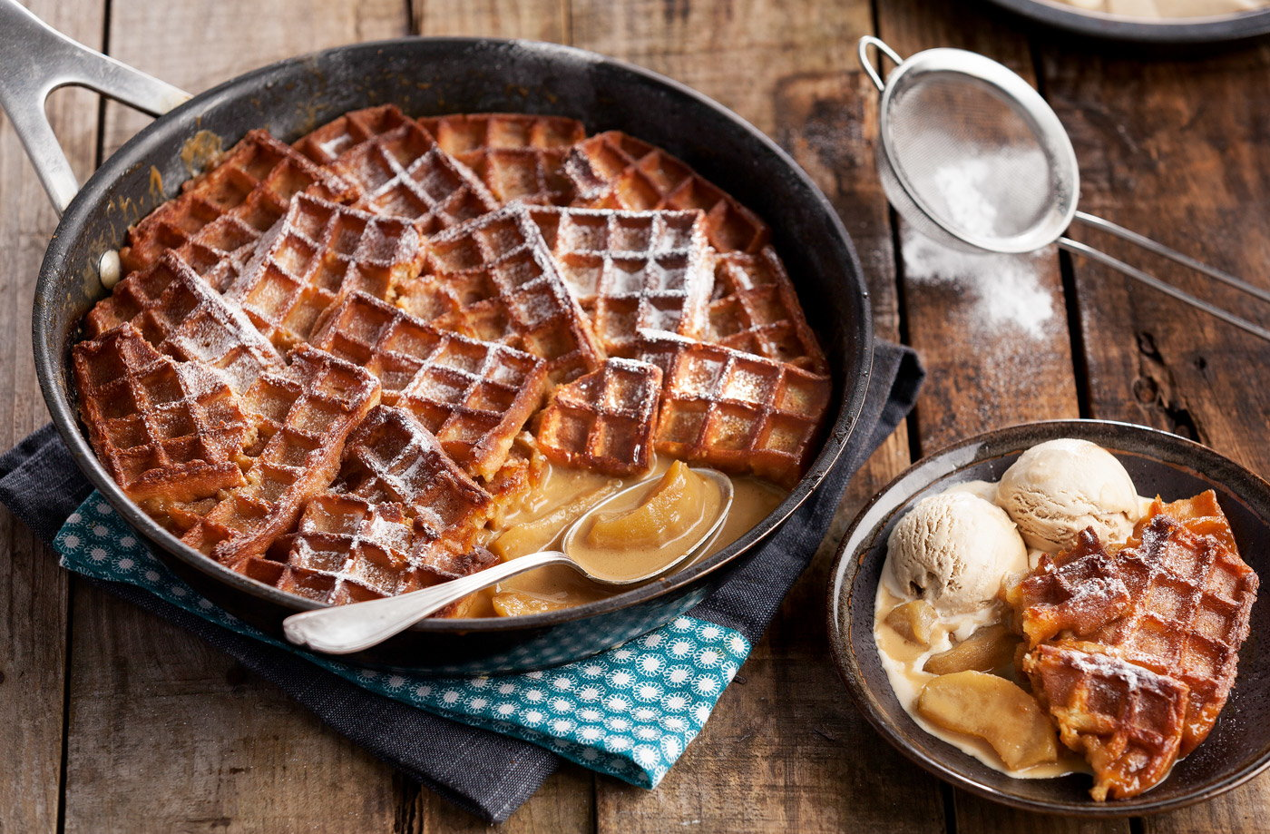 Toffee Apple Waffle Pudding