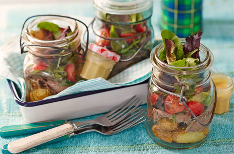 Roast beef salad jar