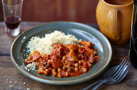 Squid, chickpea and chorizo stew