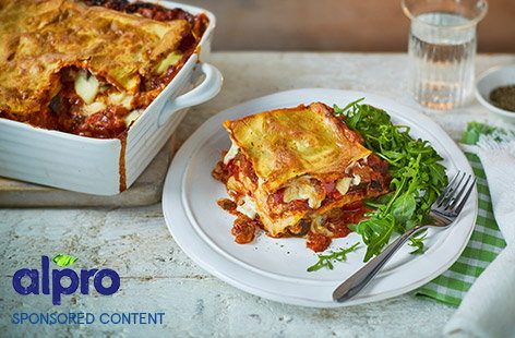 Vegan aubergine and red pepper lasagne