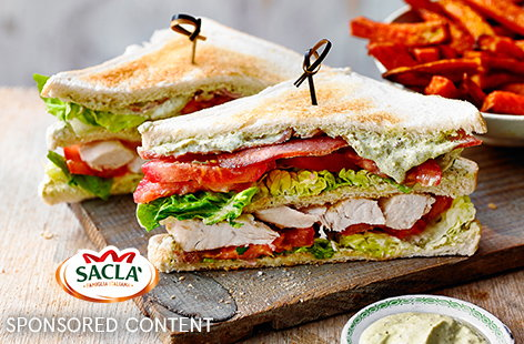 Recreate a pub lunch classic with this easy chicken club sandwich recipe – a little punchy pesto brings a delicious Italian twist