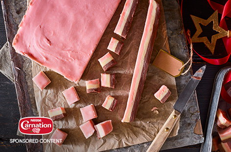 Homemade fudge is a classic Christmas gift idea, but this year try something extra special with this three-layered Neapolitan fudge recipe. White chocolate and creamy condensed milk make an easy fudge base, before being divided into three and flavoured with chocolate, strawberry or vanilla and layered up for a super pretty sweet treat.