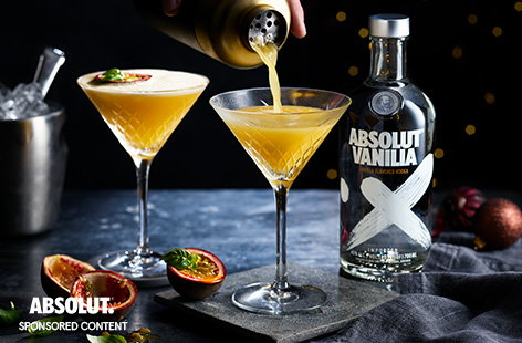 Make a classic cocktail at home with this simple passion fruit martini recipe. Vanilla vodka balances the tangy fresh passion fruit, pineapple and satsuma for an easy cocktail for two.