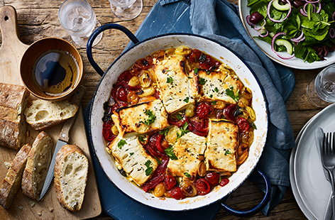Baked feta and tomatoes with cucumber salad