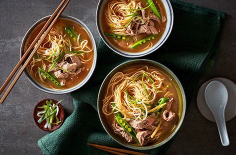Making ramen at home doesn't need to be complicated. This easy ramen recipe is ready in just 20 mins, with tender beef steaks simmered in a quick fragrant broth with noodles and sugarsnaps.