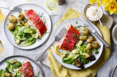 A classic, crowd-pleasing combination of salmon, beetroot, horseradish and new potatoes