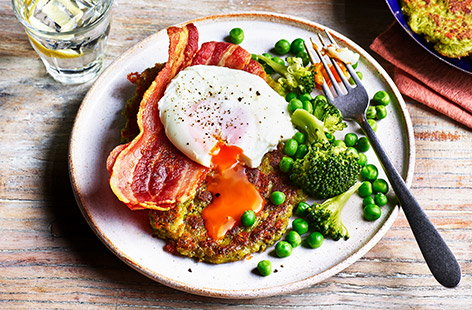 Broccoli and pea fritters with bacon and eggs
