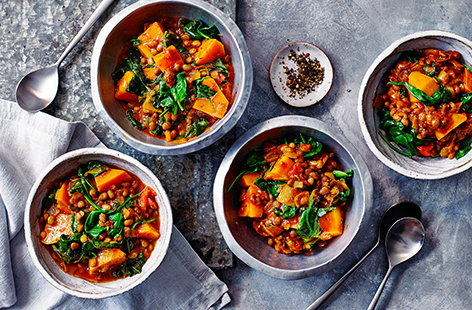 In the mood for a curry but short on time? This butternut squash and spinach curry uses a Balti curry paste as a shortcut for adding flavour.