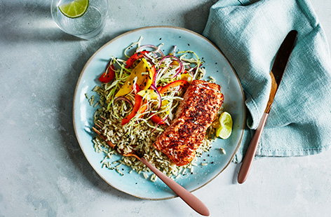 A spicy Cajun-spiced salmon fillet is the main protein in this simple dish