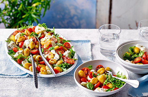 Ready in just 15 minutes, this colourful Caprese gnocchi salad recipe is the perfect summer lunch or quick dinner idea. Frying the gnocchi gives it a crunchy golden crust, perfect with the juicy tomatoes and creamy mozzarella.
