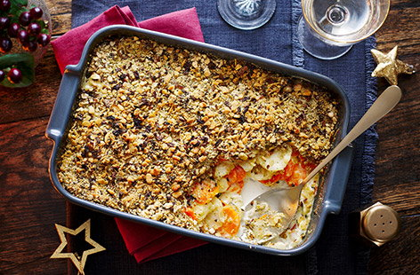 Give your Christmas mains some excellent company with this crisp and cheesy root vegetable gratin