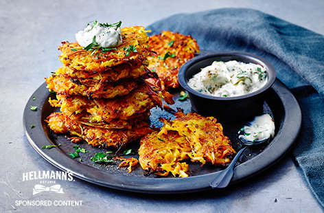 Carrot and parsnip fritters with garlic mayo