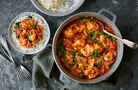 Need inspiration for a Meat-Free Monday meal? Make this cauliflower and spinach curry for a quick vegetarian dinner – using frozen veg means it comes together in no time for an easy midweek meal.
