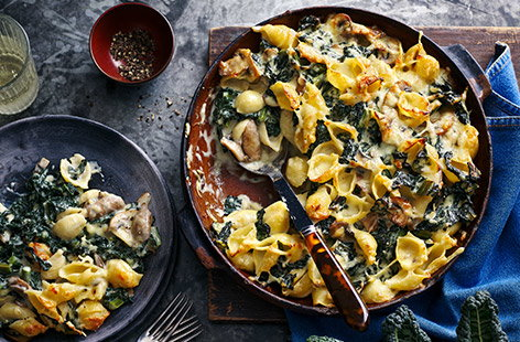 Cavolo nero is sweeter and more tender than kale, making it the perfect addition to this hearty pasta bake