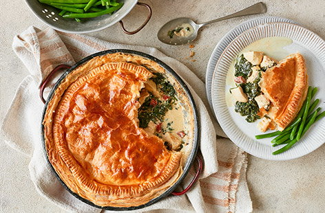 For a comfort food classic, try this chicken, chorizo and spinach pie. Traditional chicken pie is given a boost from spicy chorizo whilst spinach adds an extra helping of veg, all cooked in a rich creamy sauce and topped with buttery puff pastry.