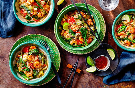 Looking for a quick and easy dinner? Look no further. This simple healthy chilli prawn stir-fry, with colourful red pepper, pak choi and broccoli packs a flavour punch and is ready to eat in 20 minutes.